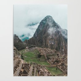 Ancient Inca ruins of Machu Picchu and surrounding Andes mountains in the early morning, Peru Poster
