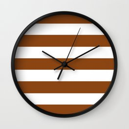 Saddle brown - solid color - white stripes pattern Wall Clock