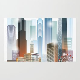Chicago city skyline painting Rug