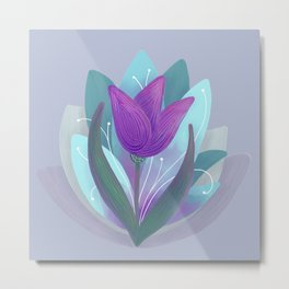 Tulip and Lotus Blossom Metal Print