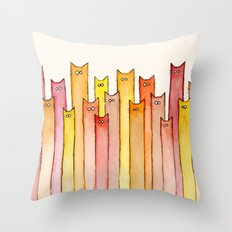 Cats Autumn Colors Pattern Whimsical Cat Orange Red Yellow Animals Throw Pillow