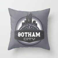 gotham Throw Pillows featuring Gotham  by Boulinosaure
