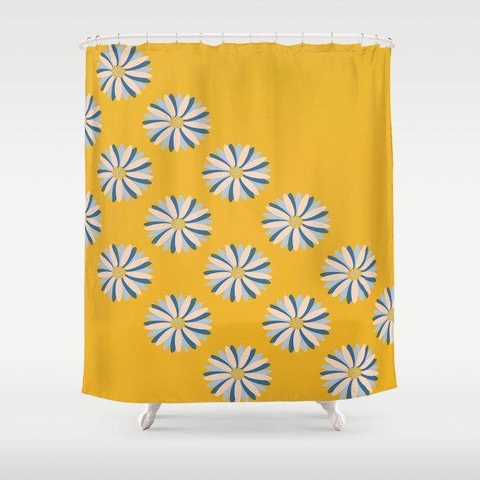 Dahlias On Mustard Shower Curtain By Cathymcreations