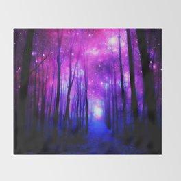 Magical Forest Path Fuchsia Purple Blue Throw Blanket