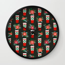 Peppermint Latte christmas coffee red cup floral kitchen cafe art print pattern Wall Clock