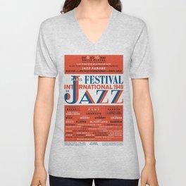 Vintage 1949 Paris International Jazz Festival Poster Unisex V-Neck