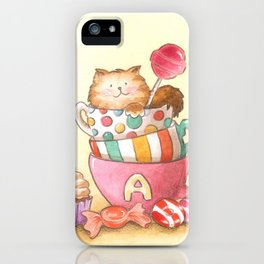 Cups, candy and a cat iPhone Case