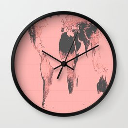 World Map: Gall Peters Pink Wall Clock