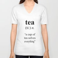 tea V-neck T-shirts featuring Tea by cafelab