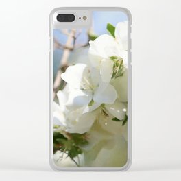 White Hawthorn Flowers Clear iPhone Case