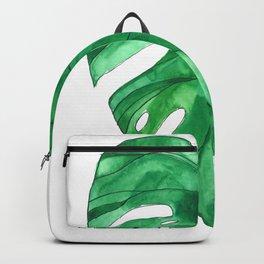 Monstera Leaf watercolor painting Backpack