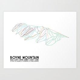 Boyne Mountain, MI - Minimalist Trail Art Art Print