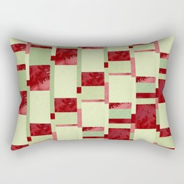 Modern Horizontal Stripe Pattern Watercolor Red Green Lime Rectangular Pillow