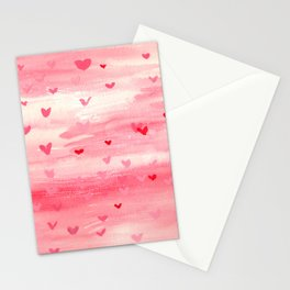 Pink Hearts Stationery Cards