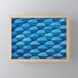 Fish 101 shades of blue Framed Mini Art Print