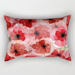 Pressed Poppy Blossom Pattern Rectangular Pillow
