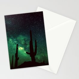 milky way cacti teal green Stationery Cards