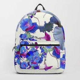 WHITE ART  BLUE MORNING GLORIES & WHITE IRIS Backpack