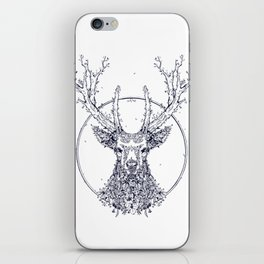 Flowers and Stag [Monochrome] iPhone Skin