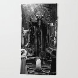 V. The Hierophant Tarot Card Illustration  Beach Towel