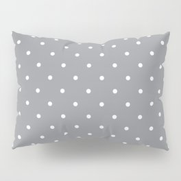 Small White Polka Dots with Grey Background Pillow Sham