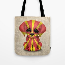 Cute Puppy Dog with flag of Macedonia Tote Bag