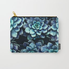 Blue And Green Succulent Plants Carry-All Pouch