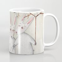bunnies Mugs featuring Bunnies by Arianna Usai
