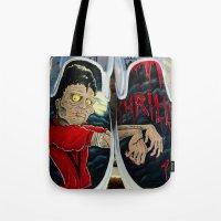 vans Tote Bags featuring Thriller Vans by MonsterMacDesigns