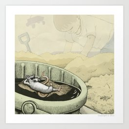 A Rat in a Bucket Art Print