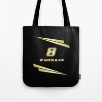 f1 Tote Bags featuring F1 2015 - #8 Grosjean by MS80 Design