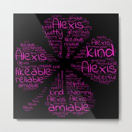 Alexis name gift with lucky charm cloverleaf words Metal Print