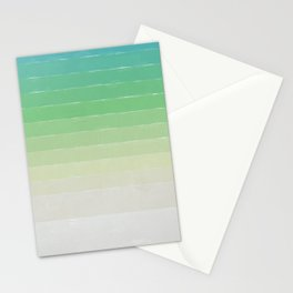 Shades of Ocean Water - Abstract Geometric Line Gradient Pattern between See Green and White Stationery Cards