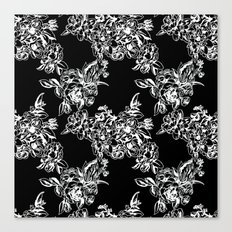 Cabbage Roses - Black Canvas Print