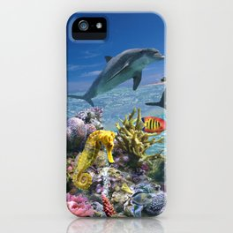 Coral Reef and Dolphins iPhone Case