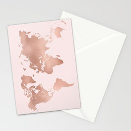 Rose Gold World Map Stationery Cards