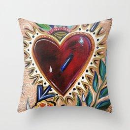 """""""Sacred Heart"""" Floral Heart Art Throw Pillow"""