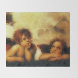"Raffaello Sanzio da Urbino ""Sistine Madonna"", 1513-1514 - angels (1) Throw Blanket"