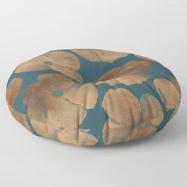 Abstract Metal Copper Flowers on Emerald Floor Pillow