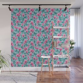 Pink & Teal Lovely Floral Wall Mural