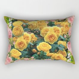 PINK & YELLOW SPRING ROSES GARDEN VIGNETTE Rectangular Pillow