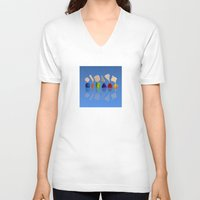 faces V-neck T-shirts featuring Faces by Marlene Llanes