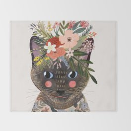 Siamese Cat with Flowers Throw Blanket