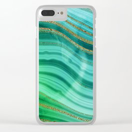 Ocean Blue And Green Mermaid Glamour Marble Clear iPhone Case