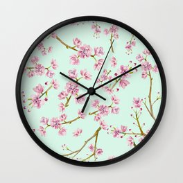 Spring Flowers - Mint and Pink Cherry Blossom Pattern Wall Clock