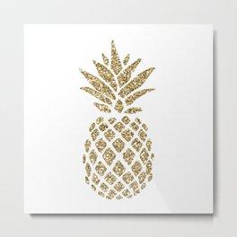 Gold Glitter Pineapple Metal Print
