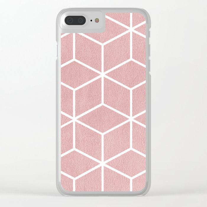 Blush Pink and White - Geometric Textured Cube Design Clear iPhone Case