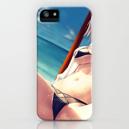 Super Hot Hentai Girl In Bikini Relaxing On Beach With Spread Legs Ultra HD iPhone Case