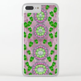 ivy and  holm-oak with fantasy meditative orchid flowers Clear iPhone Case
