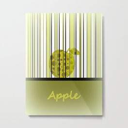 Apple And Stripes Metal Print